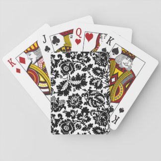 Damask Floral Black and Whtie Playing Cards