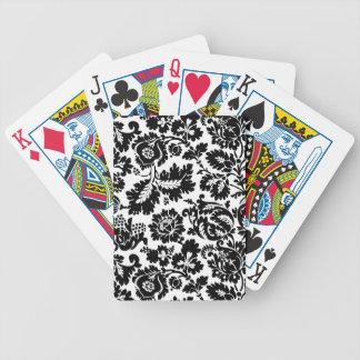 Damask Floral Black and Whtie Poker Deck