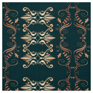 damask floral golden seamless pattern fabric