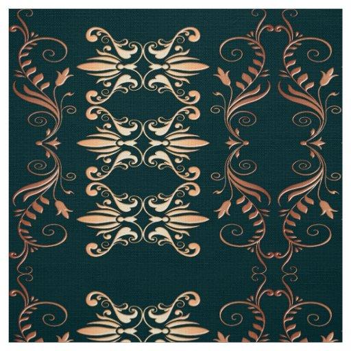damask floral golden seamless pattern fabric