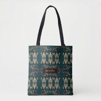 damask floral golden seamless pattern tote bag