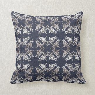 damask floral navy pattern throw pillow