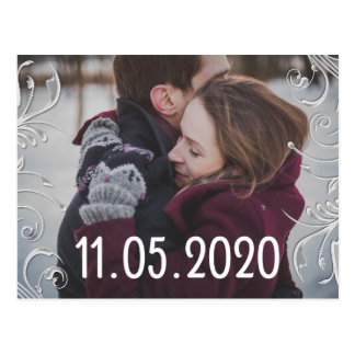 Damask Floral | Save The Date Couple Photo Postcard