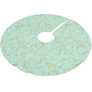 Damask Floral Shimmer Gold on Any Colour ID461 Brushed Polyester Tree Skirt