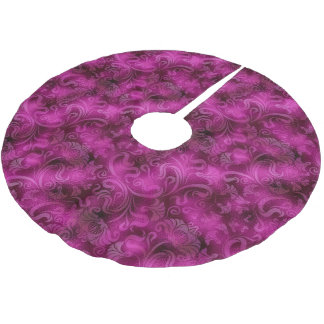 Damask Floral Shimmer Magenta Rose ID461 Brushed Polyester Tree Skirt