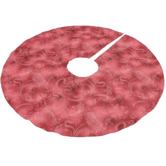 Damask Floral Shimmer Rose Red ID461 Brushed Polyester Tree Skirt