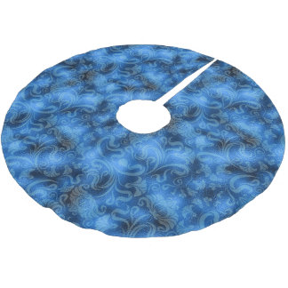 Damask Floral Shimmer Sapphire Blue ID461 Brushed Polyester Tree Skirt