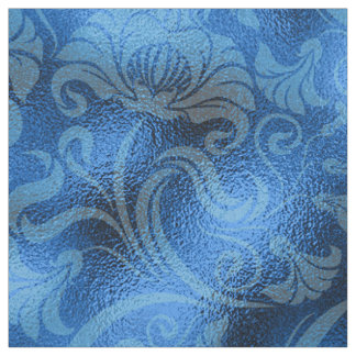 Damask Floral Shimmer Sapphire Blue ID461 Fabric