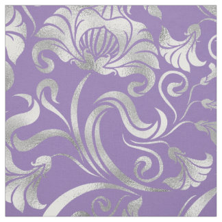 Damask Floral Shimmer Silver Any Background ID461 Fabric