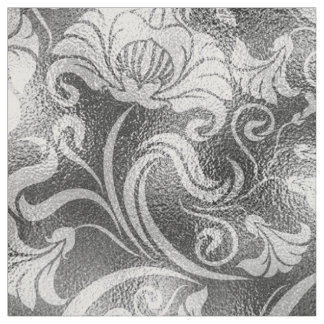 Damask Floral Shimmer Silver Grey ID461 Fabric