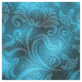 Damask Floral Shimmer Turquoise Blue ID461 Fabric