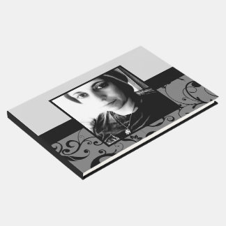 damask funeral guest book