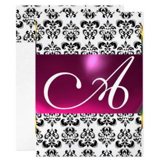 "DAMASK GEM MONOGRAM purple pink black white silver 6.5"" X 8.75"" Invitation Card"