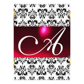 DAMASK GEM MONOGRAM red burgundy white Invitation