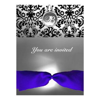 DAMASK GEM STONE MONOGRAM blue ribbon Custom Announcement