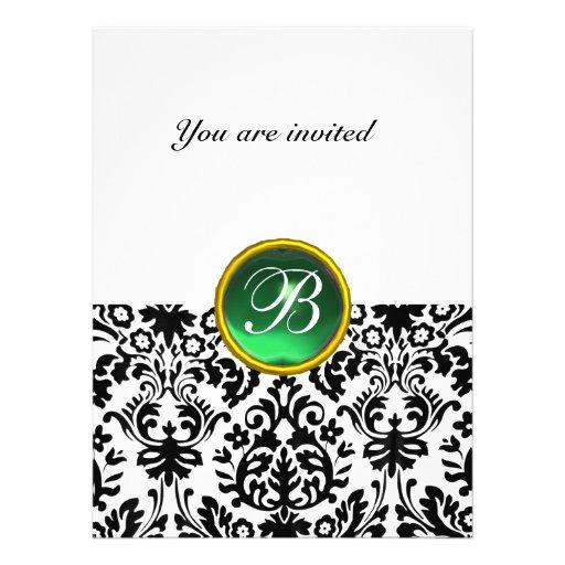 DAMASK GEM STONE MONOGRAM jade green white Personalized Invite
