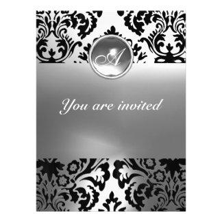 DAMASK GEM STONE MONOGRAM white Personalized Invitation
