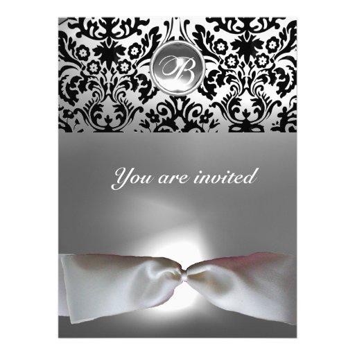 DAMASK GEM STONE MONOGRAM white ribbon grey black Custom Invite
