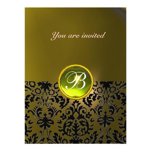 DAMASK GEM STONE MONOGRAM  yellow Invitation