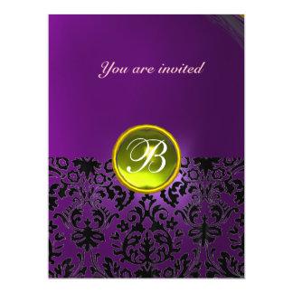 "DAMASK GEM STONE MONOGRAM  yellow purple 6.5"" X 8.75"" Invitation Card"