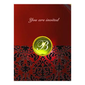 DAMASK GEM STONE MONOGRAM  yellow red Custom Invitations