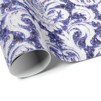 Damask Glitter Indigo Silver Gray Royal Cottage Wrapping Paper