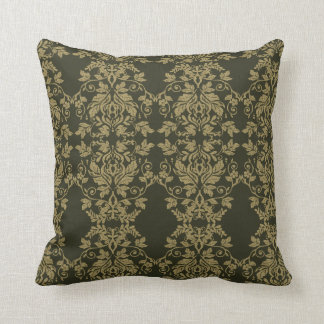 Damask Gold and Dark Olive Decor Throw Pillow