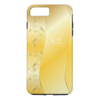 Damask gold  faux glitter pattern on stylized gold iPhone 7 plus case