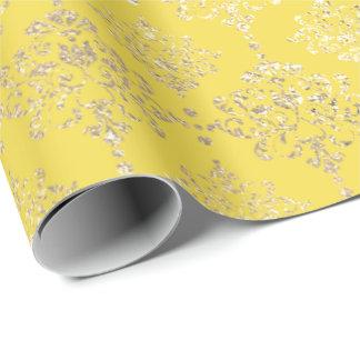 Damask Gold Faux Royal Metallic Pantone Yellow Wrapping Paper
