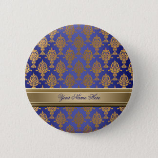 Damask Gold on Royal Blue 2 Inch Round Button