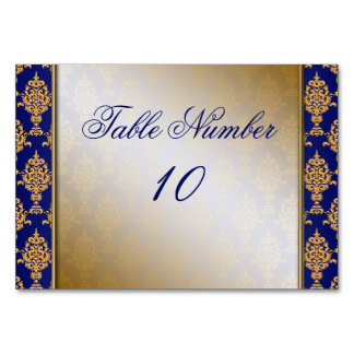 Damask Gold on Royal Blue Borders Card