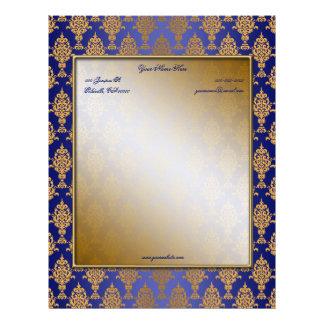 Damask Gold on Royal Blue Borders Letterhead