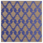 Damask Gold on Royal Blue Fabric