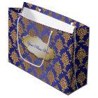 Damask Gold on Royal Blue Label Large Gift Bag