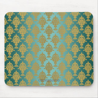 Damask Gold on Teal Green Mouse Pad