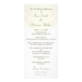 Damask gold pattern Wedding Programs Rack Cards