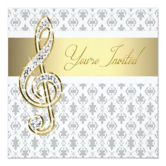Damask Gold Treble Clef Recital Invitations