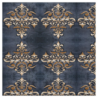 Damask golden element on grunge background fabric