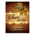 Damask Golden Leaves glamourous Fall Wedding Postcard
