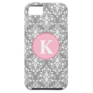 Damask Gray and White Pattern Monogram iPhone 5 Cover
