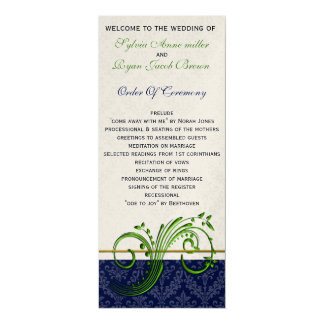 "damask green and navy Wedding program 4"" X 9.25"" Invitation Card"