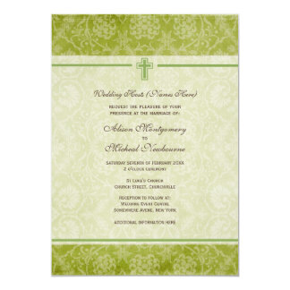 Damask Green Christian Church Wedding Invite