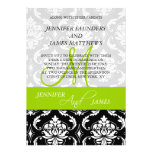 Damask Green Monogram Names Wedding Invitations