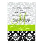 "Damask Green Monogram Names Wedding Invitations 5"" X 7"" Invitation Card"