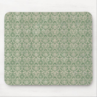 Damask Green Pattern Mouse Pad