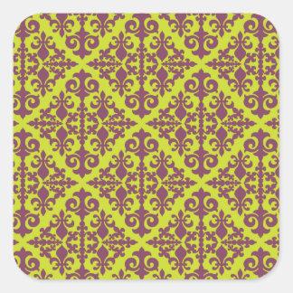 Damask Green & Purple Square Stickers