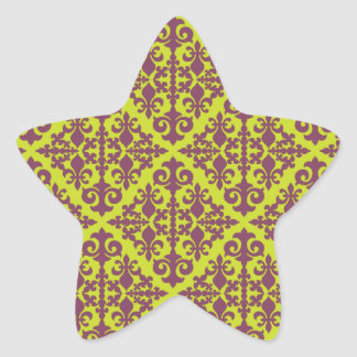 Damask Green & Purple Star Stickers