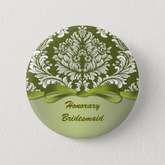 Damask green Wedding Honorary Bridesmaid 2 Inch Round Button
