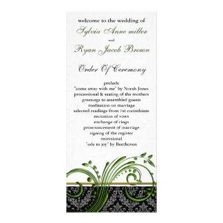 damask green Wedding program Custom Rack Cards