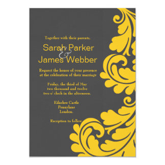 Damask grey and yellow Modern Wedding invitations